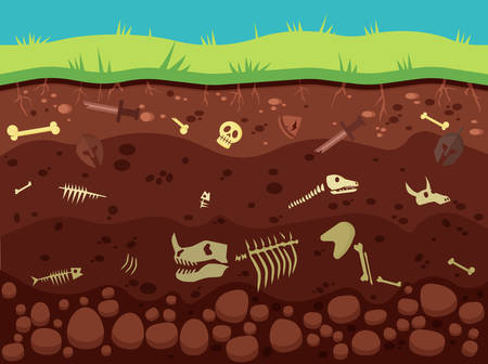 Archeology, historic artifacts under ground vector illustration