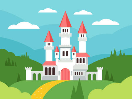 Fairytale cartoon flat landscape with castle. Cute fantasy palace with towers, fantasy fairy house. Old medieval stone magic knight castle building vector illustration.