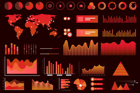 Data screen of assorted vector graphs, charts, diagrams. Red neon color futuristic ui infographics on dark background. High technology panel, interactive data graph vector illustration.