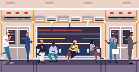 People in subway train flat vector characters Çizim