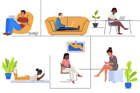 Young people using gadgets at home flat vector illustrations set Ilustracje wektorowe