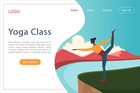 Yoga class web landing page vector template