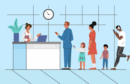 People waiting in queue flat vector illustration