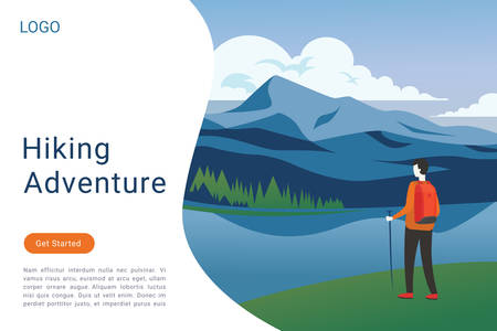 Hiking adventure web landing page vector template