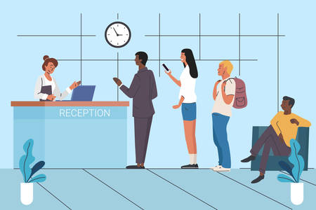 Clients waiting in queue flat vector illustration 일러스트
