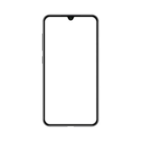 Smartphone mockup with blank white screen. Realistic vector trendy frameless smart phone, cellphone isolated. Ilustração