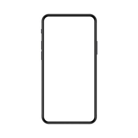 New trendy version of black thin frame notch display smartphone with blank white screen. Realistic phone mockup for any project vector illustration.