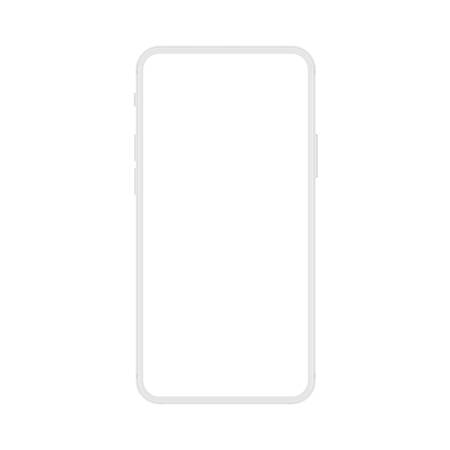 New version of soft white frameless display modern smatphone. Cell phone smart phone realistic mockup vector illustration.