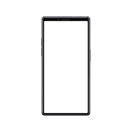 Modern frameless cellphone smartphone with blank white empty screen isolated. Premium design smartphone mockup for any visual project vector illustration.