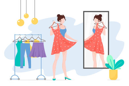 Woman choosing clothes flat vector illustration. Girl with dress looking at mirror cartoon character. Fashionista lady with stylish outfit. Wardrobe, apparel, garment. Clothing rack