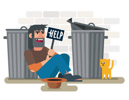 Homeless sad poor man sits on the ground near garbage containers with with help plate and cat vector illustration.