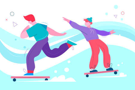 Teenage skateboarders flat abstract vector illustration. Teen boys skating on boards. Outdoor urban recreation activity. Male friends doing extreme sports. Skateboarding concept