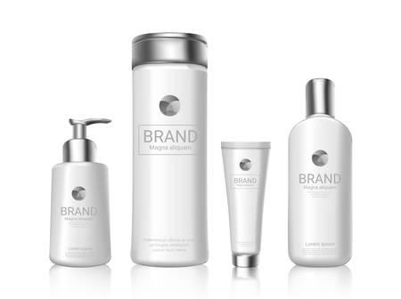 Botellas de cosméticos blancos con maqueta de diseño de paquete de marca. Ilustración de vector