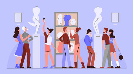 People in art gallery flat vector illustration