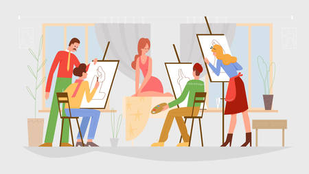 People Art class, drawing lesson vector illustration