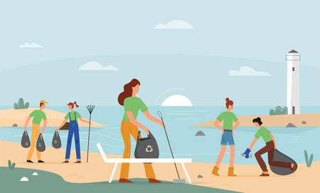 Volunteer activity, beach garbage collection vector illustration