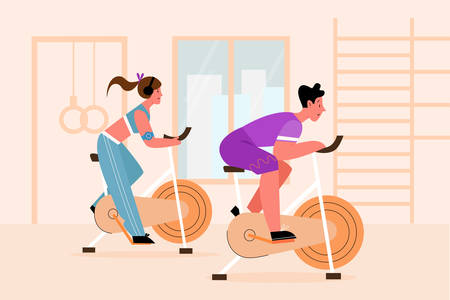 Exercise bike, training apparatus vector illustration. Athletes and gym equipment, sportsmen exercising on simulator flat characters. Sport, active lifestyle, regular training, healthy habit