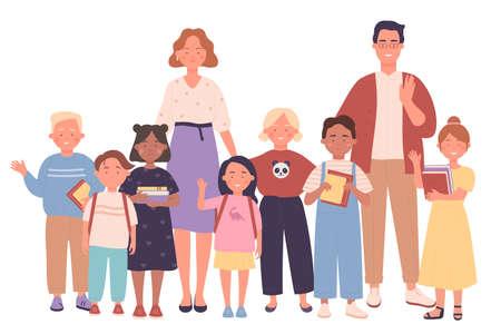 Teachers and kids people together vector illustration Ilustracja