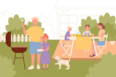 Family on back yard picnic together vector illustration