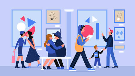 Museum art gallery with people vector illustration