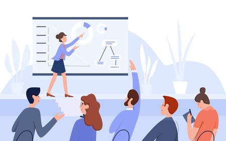 Ilustración de vector plano de personas de conferencia de reunión de negocios
