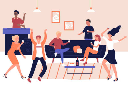 Disco party, discotheque, holiday celebration vector illustration. Leisure, soiree, recreation, entertainment. Male and female party visitors resting together, DJ and dancers flat characters