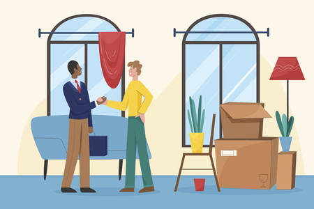 Smiling real estate agent shake hands with satisfied client.