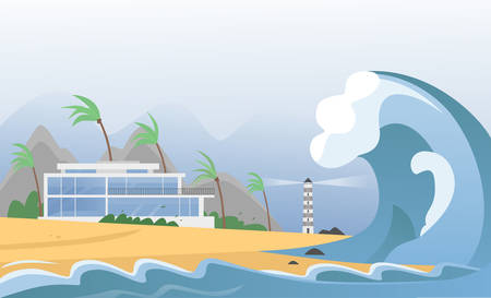 Natural strong disaster with fog and tsunami waves from ocean with house, mountains, palms and lighthouse. Earthquake tsunami wave hits the sand beach vector illustration.
