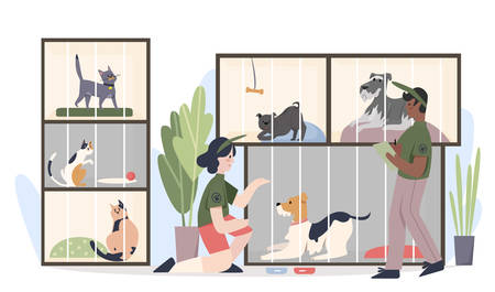 Animal shelter with pets in cages. Man and woman volunteers feeding animals cartoon flat vector illustration Vectores