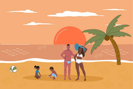 Multiracial family on beach at sunset flat line character vector illustration concept. Happy tanned people relax, parents stand together, children play in sand. Coconut palm, calm sea, light clouds
