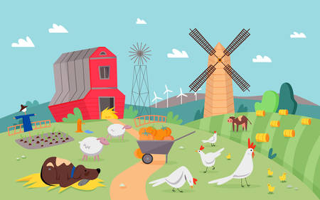 Modern farm with cute animals flat design cartoon vector illustration background. Rural landscape with green fields, sheaves of hay, elevator, mill, cart with pumpkins. Farming and agriculture concept Ilustração