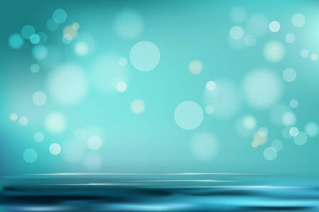 Aquamarine gradient soft abstract background scene realistic vector illustration concept. Water and air with lighter spot and bubbles. Base for advertising, poster, banner, magazine, webpage Illusztráció