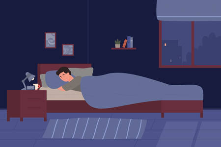 Young man sleeping in his bed. Cartoon boy room bedroom at night