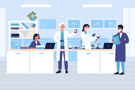 Group scientists in medical or chemical laboratory character flat vector illustration concept. Men, women in protective gloves, masks, lab coats with flasks, test tubes do research, notes results