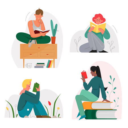 Reading sitting people with books character flat vector illustration set