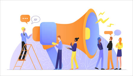Movie production as teamwork flat character vector illustration concept. Movie director talk by giant megaphone to actors and actress to explain idea, assistants write notes. Teamwork, communication 向量圖像