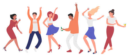 Dancing happy modern men, women character concept flat vector illustration set isolated on white background. Collection fun moving humans in different poses. Party, dance group, poster, banner  イラスト・ベクター素材