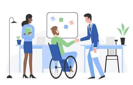 Man with special needs in wheelchair gets job flat character vector illustration. Positive touchable situation with smiling people in company office. Career and employment of disabled person concept Illusztráció