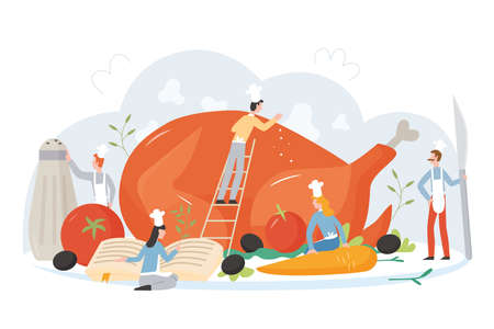 Team culinary specialist cooks giant turkey flat character vector illustration concept  イラスト・ベクター素材