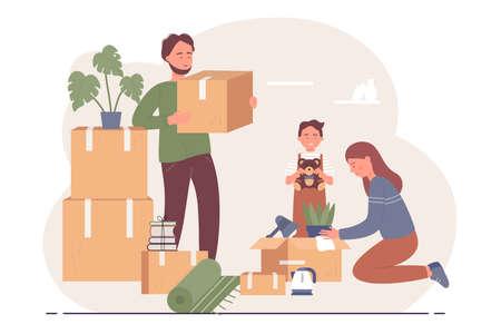 Happy family relocates to new apartment character flat vector illustration concept Ilustração