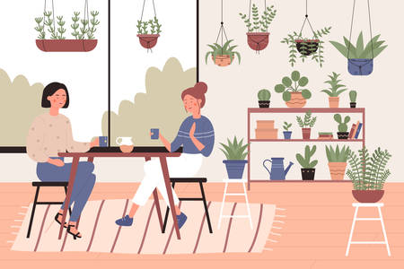 Two pretty women drink tea in eco cafe flat character vector illustration concept