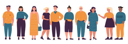 Overweight different age people standing character flat vector illustration set
