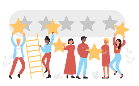 People holding golden stars over heads. Comments rate service, leave feedback consumer, five points score positive customer review evaluation and user experience satisfaction flat vector illustration 向量圖像