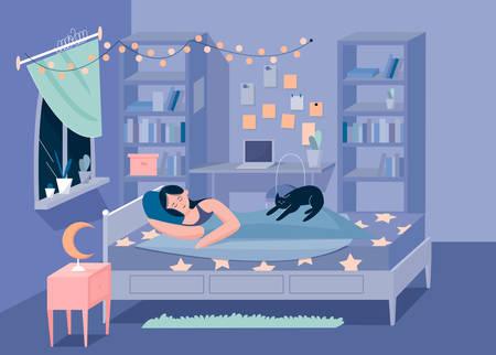Sweetheart sleeping girl and kitten in bedroom character flat vector illustration concept