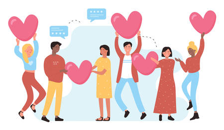 I love social media background with smiling people and hearts. I like it character concept flat vector illustration. Communication, appearance and development of relationships in social networks