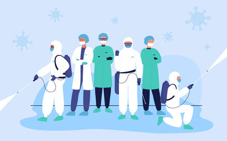 Disinfectors protect medical doctors team from coronavirus, covid character flat concept vector illustration. People in special hazmat suits spraying space with sanitizer to clean it from pathogen Stock Illustratie