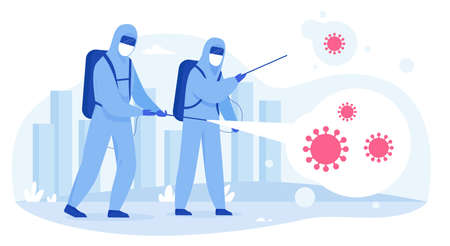 Scientists in hazmat suits sanitizing, cleaning and disinfecting city streets from Covid-19 corona virus. Epidemic coronavirus pandemia concept flat vector illustration.