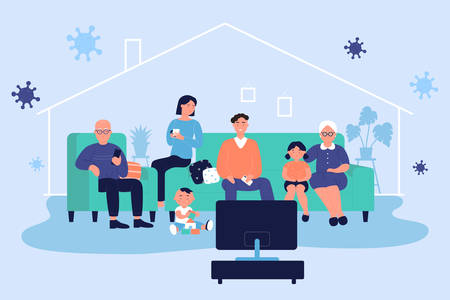 Full family spend time together at home watching TV during corona virus covid-19 time. Stay at home together to prevent coronavirus disease, quarantine self isolation concept flat vector illustration.