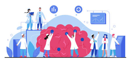 Brain health, mental investigation character flat vector illustration, medicine abstract concept. Doctors diagnose brain in laboratory. Psychologists, psychiatrists consulting, healthcare treatment Vektorové ilustrace