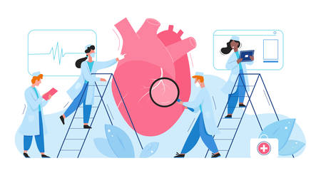 Doctors in laboratory researches heart organ healthcare medical concept flat vector illustration. Cardiologists men women check cardiogram, determine diagnosis disease treatment. Pharmacy research.